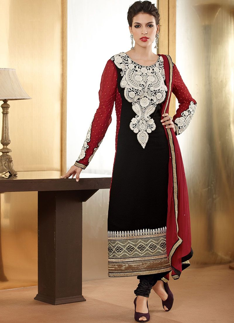 Black Faux Georgette Designer Anarkali Suit