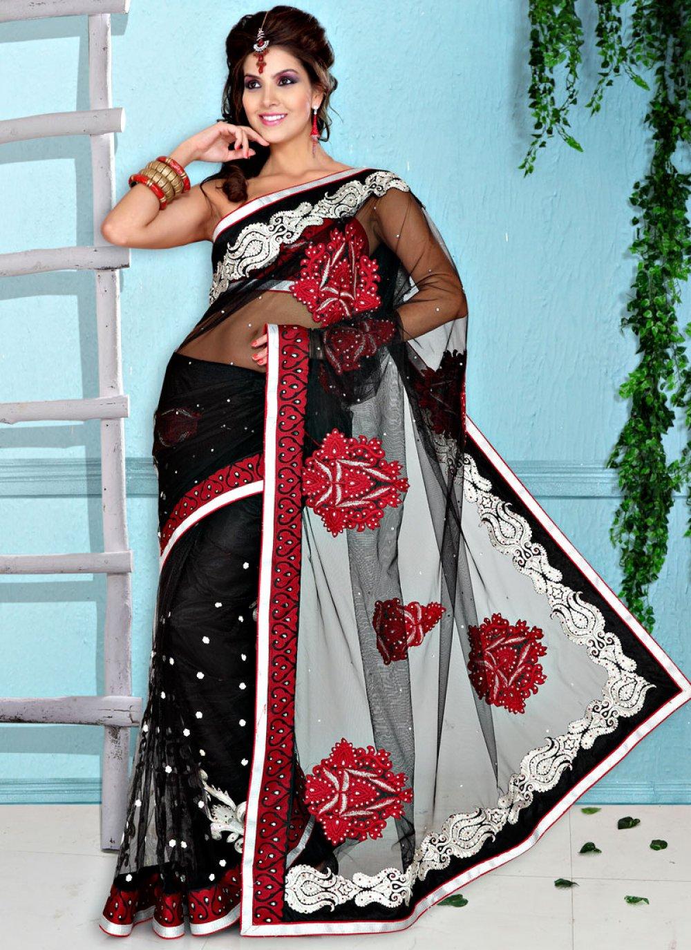 Black Net Resham Embroidered Saree