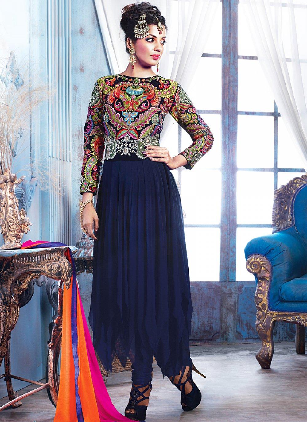 Black Resham Work Faux Georgette Anarkali Suit