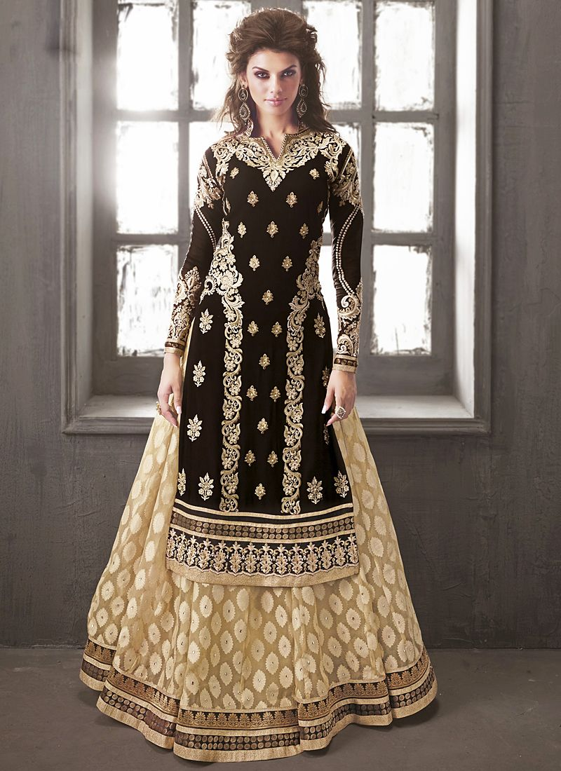 Black Resham Work Faux Georgette Lehenga Choli