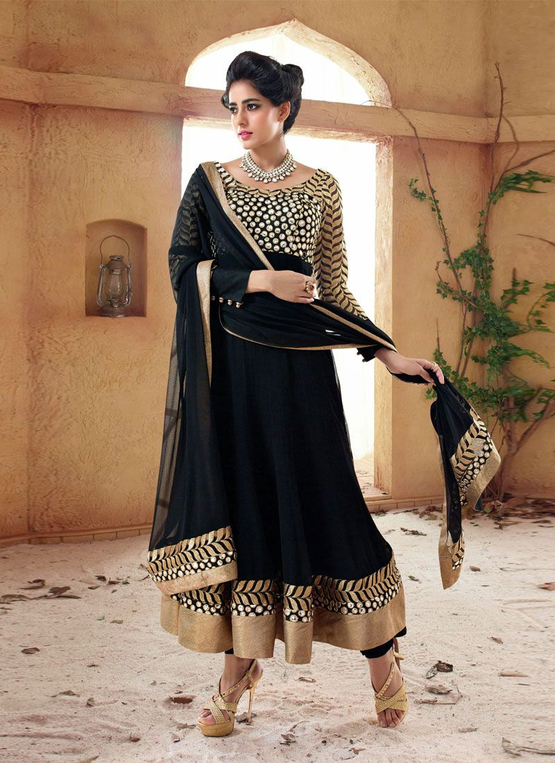 Black Resham Work Holiday Movie Anarkali Suit