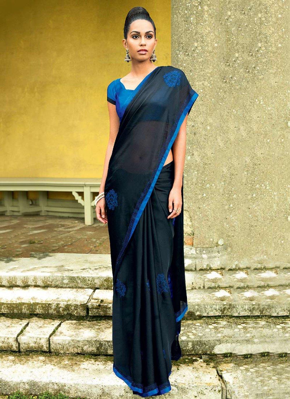 Black Satin Saree
