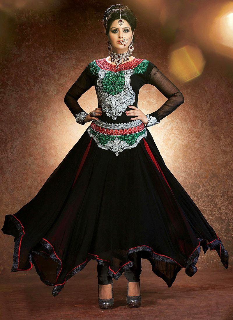 Black Stone Work Net Anarkali Suit