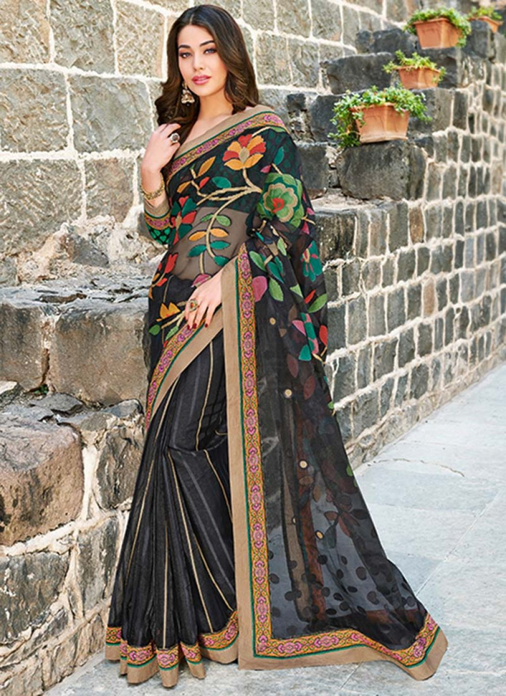 Black Tissue Brasso Saree