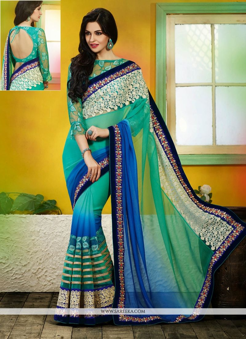 Blue And Green Net Designer Saree