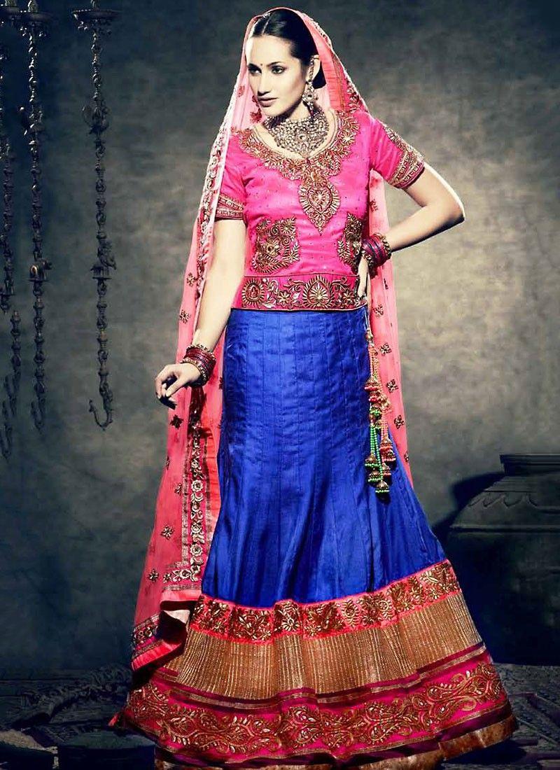 Blue And Pink Embroidered Lehenga Choli