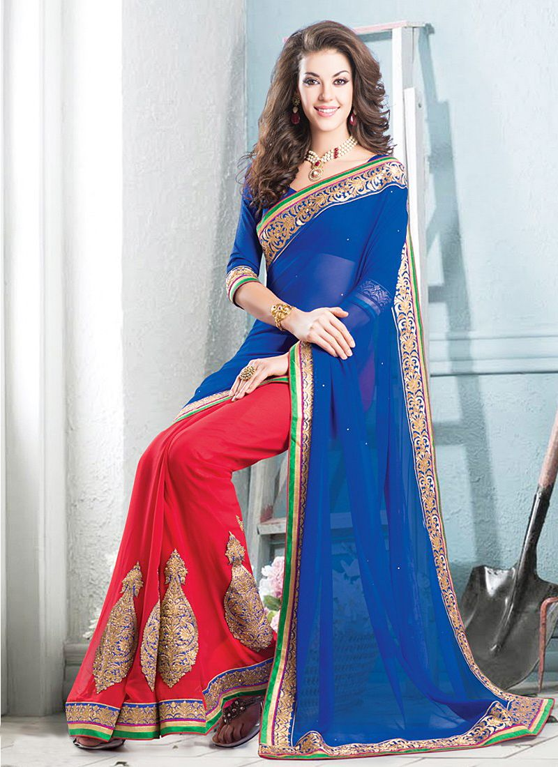 Blue And Red Embroidery Half And Half Saree