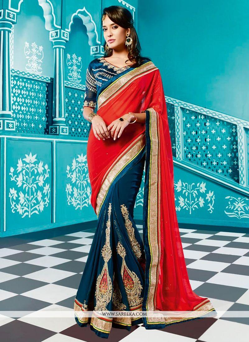 Lisa Haydon Blue And Red Georgette Designer Saree