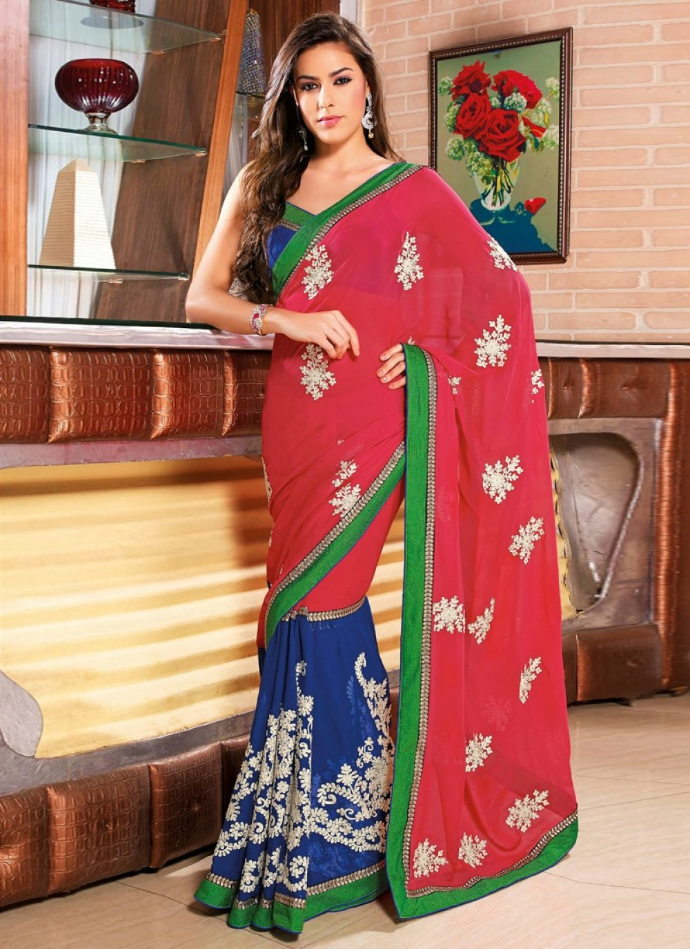 Blue And Red Viscose Party Wear Saree