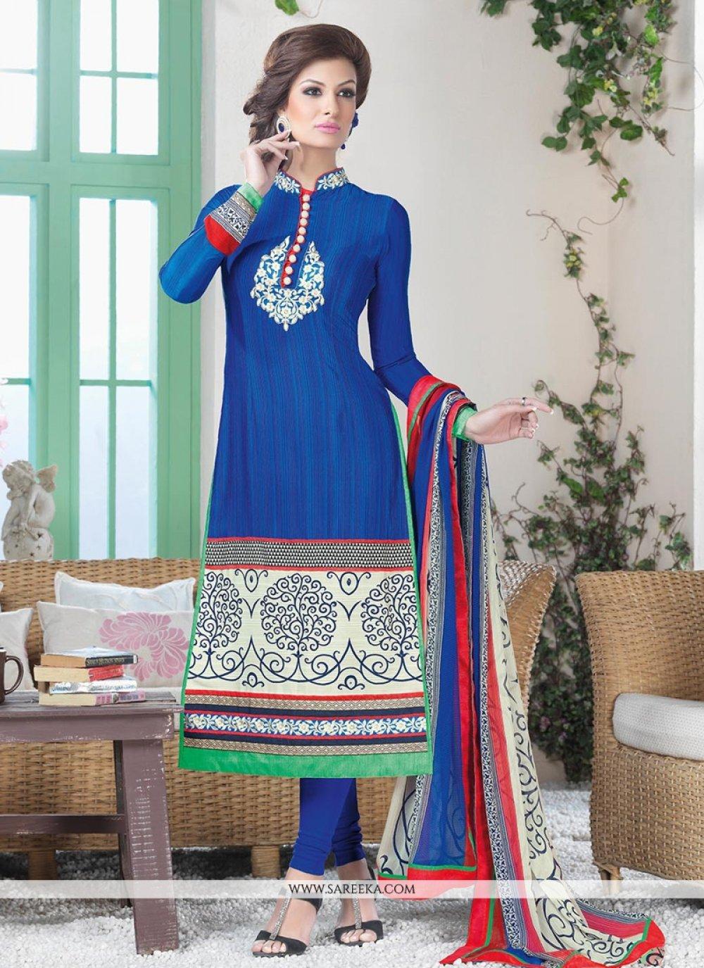 Blue Crepe Silk Churidar Suit