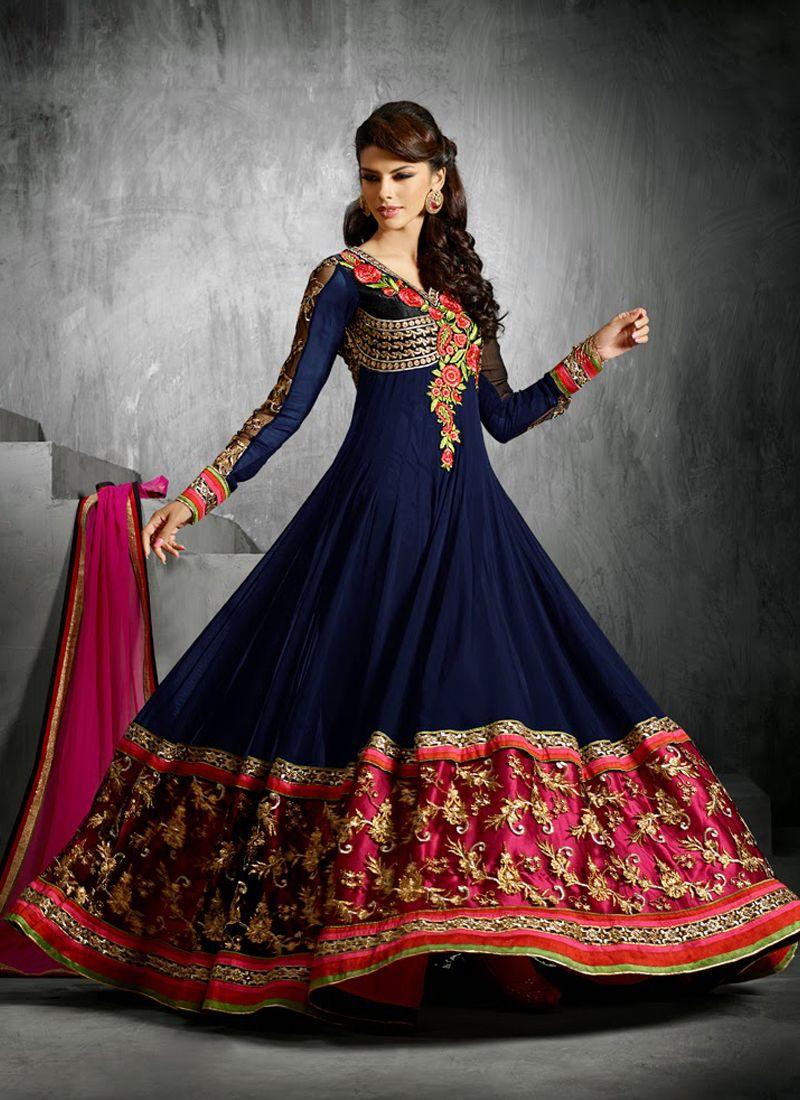 Blue Embroidery Anarkali Salwar Suit