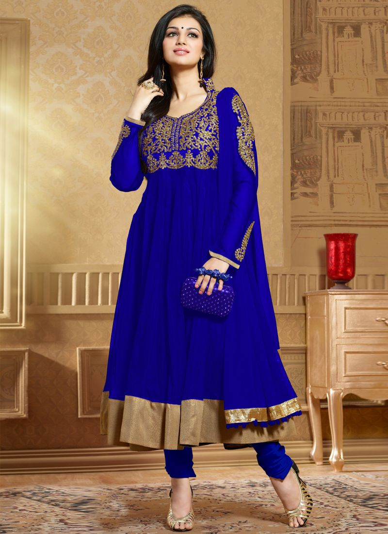 Blue Embroidery Anarkali Suit