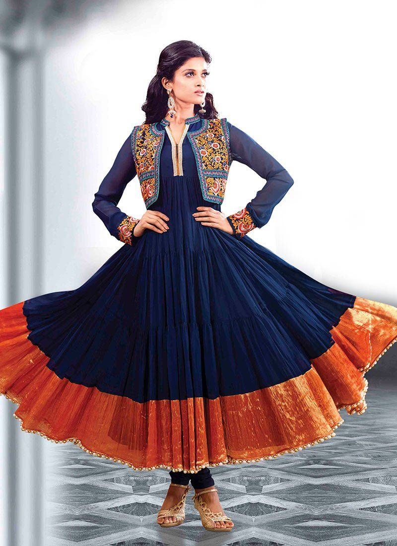 Blue Faux Georgette Anarkali Salwar Kameez