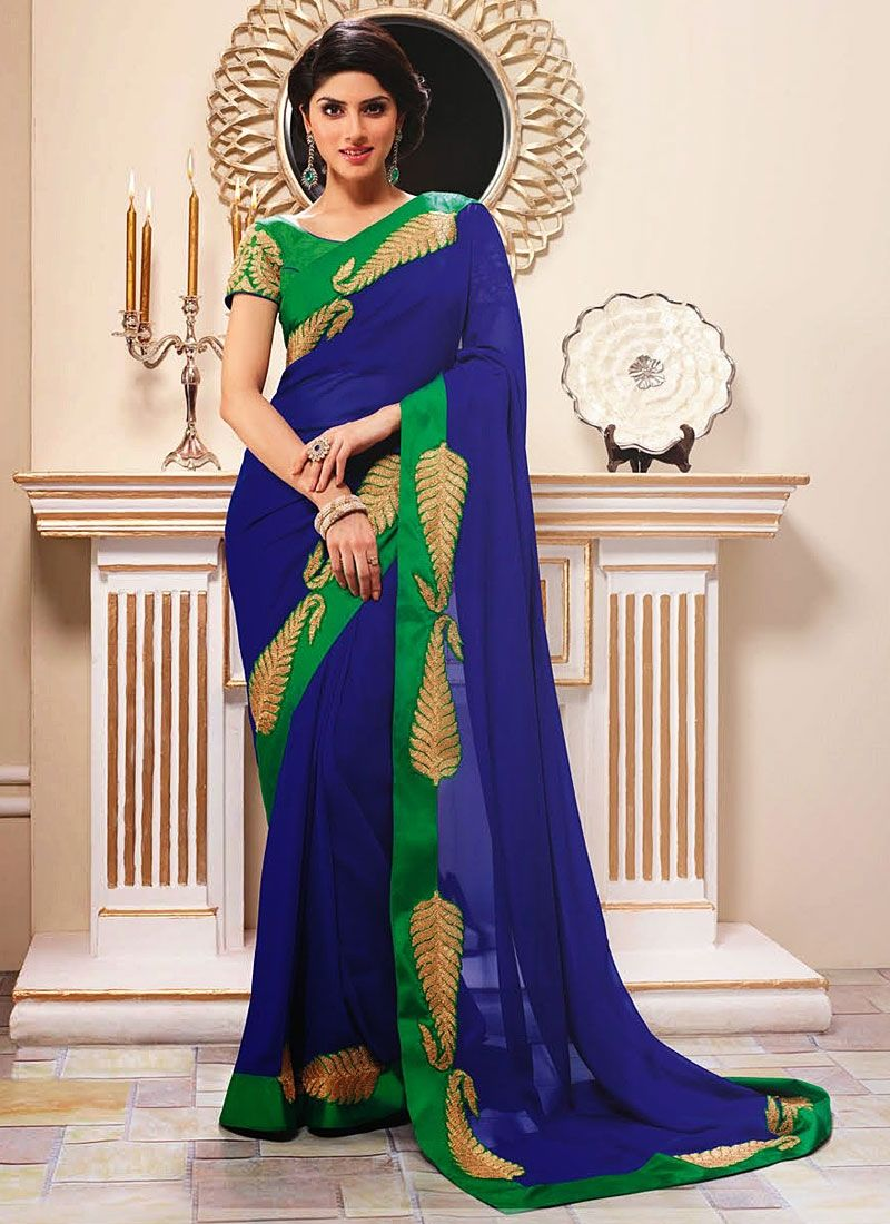 Blue Georgette Zari Work Desiner Saree