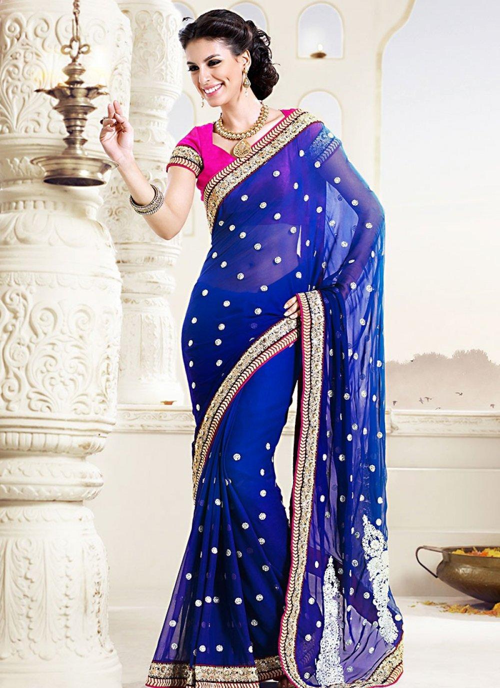 Blue Pure Bamber Wedding Saree