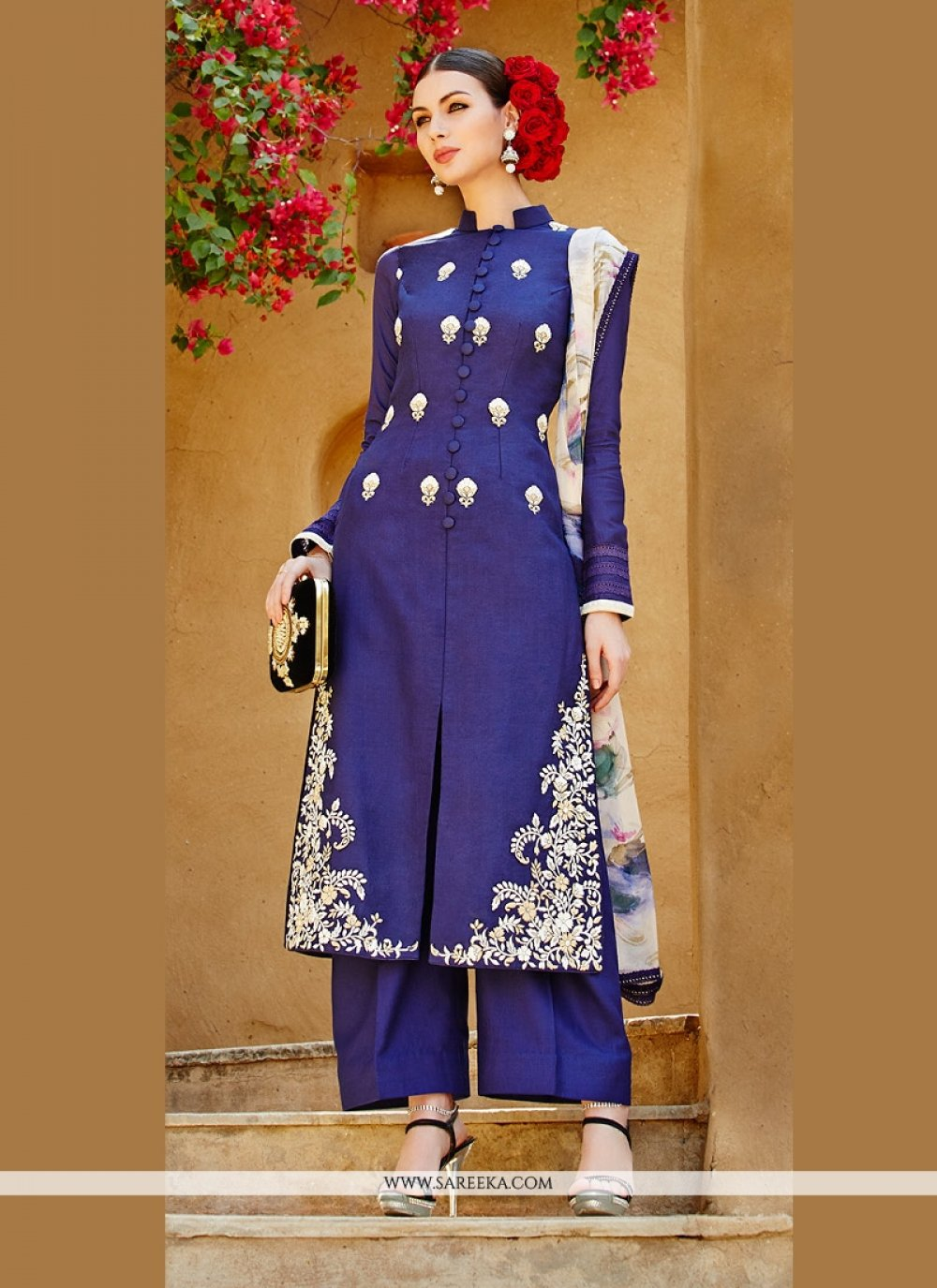 Blue Pure Linan Palazzo Suit