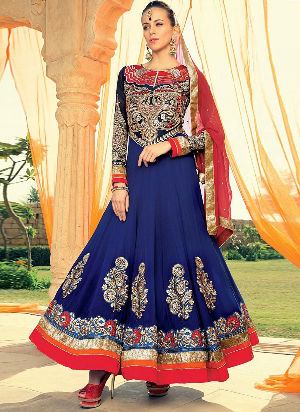 Blue Stone Work Georgette Anarkali Suit