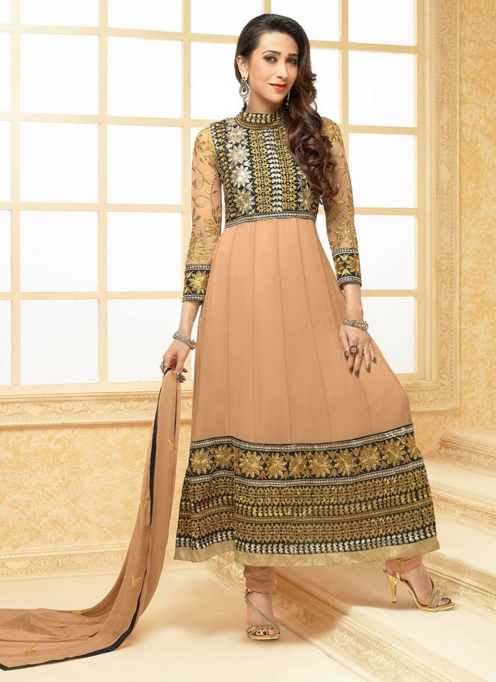 Brown Faux Georgette Embroidered Anarkali Suit