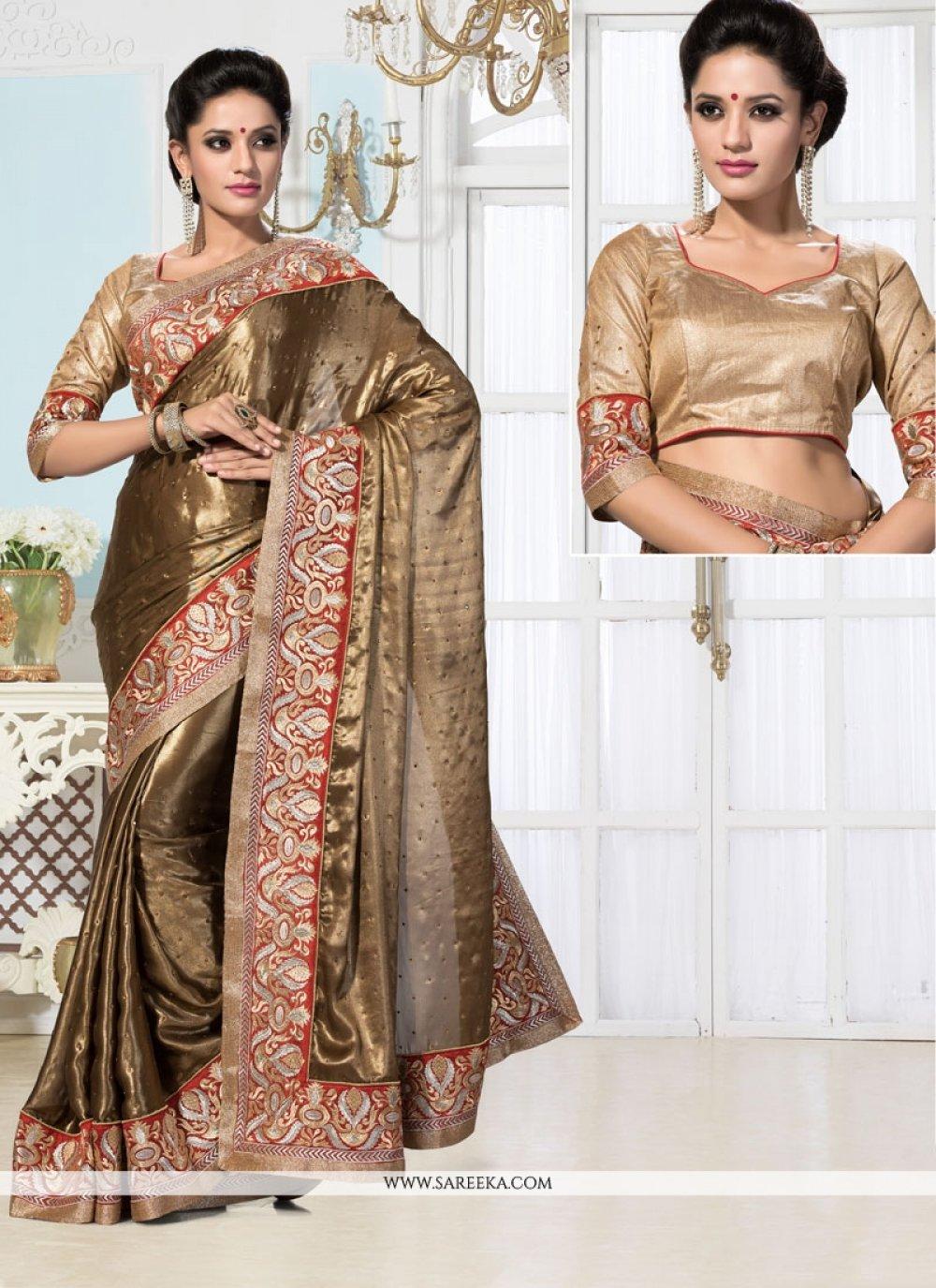 Brown Georgette Designer Saree