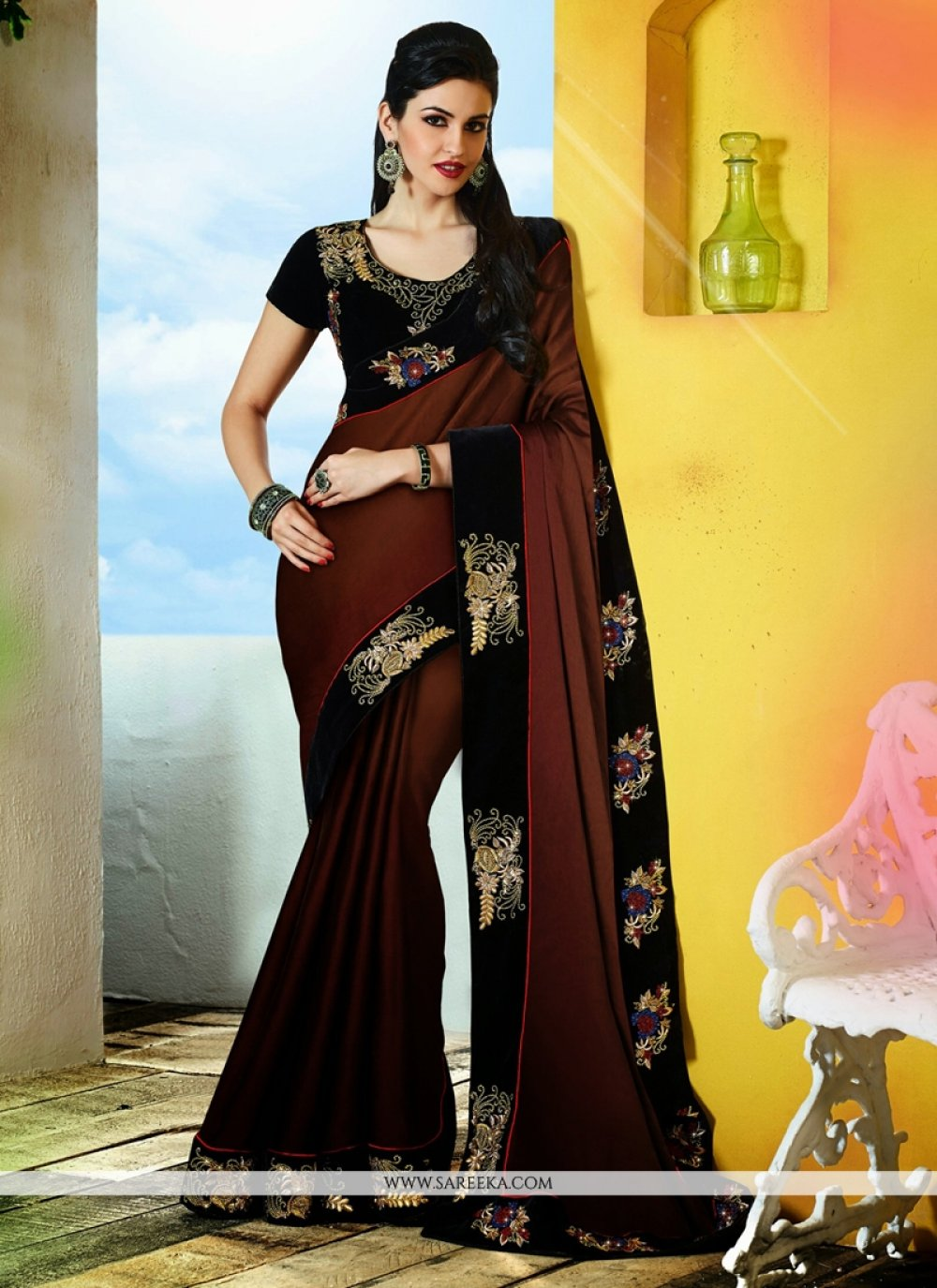 Brown Satin Chiffon Designer Saree