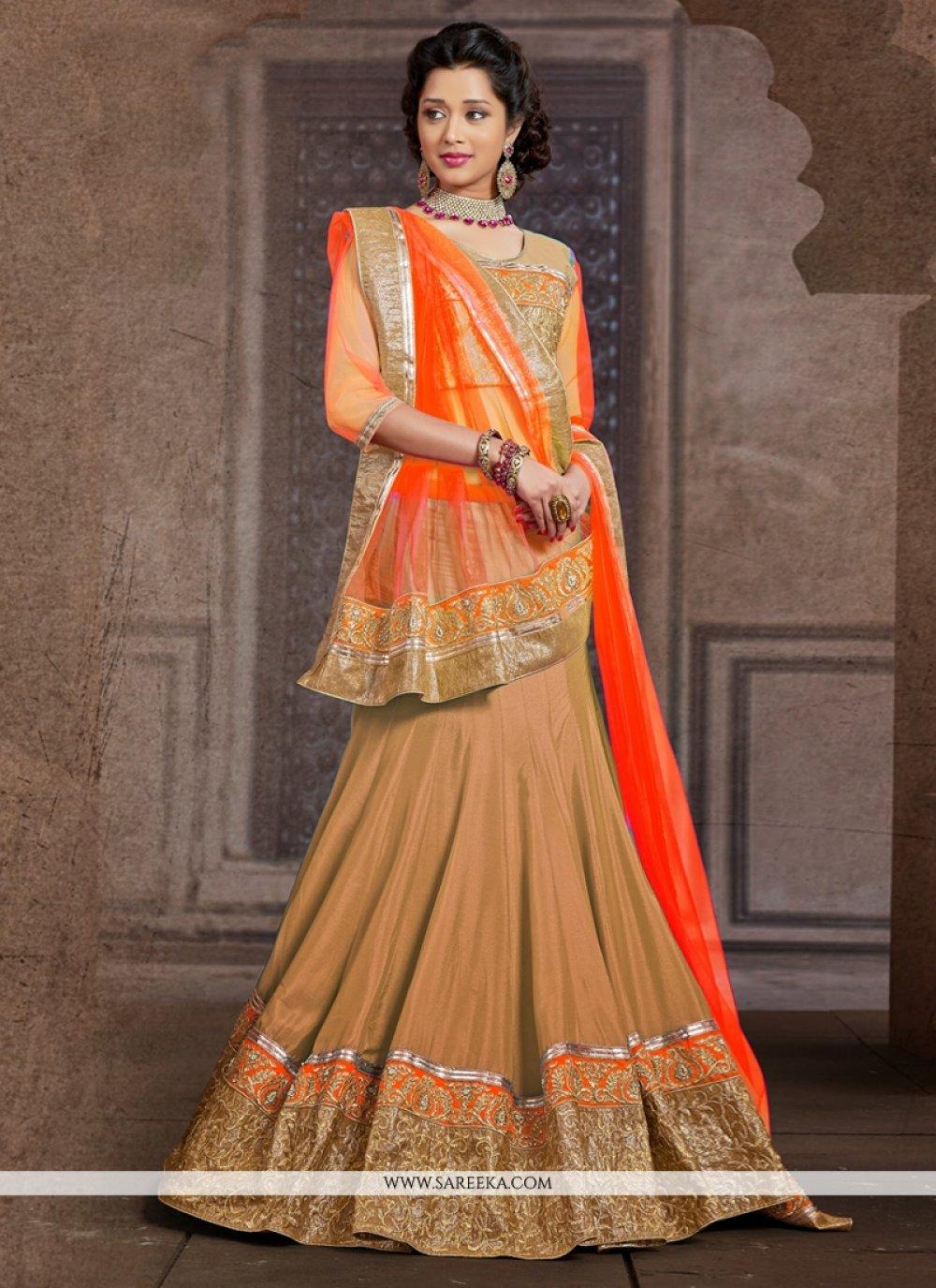 Brown Silk Wedding Lehenga Choli