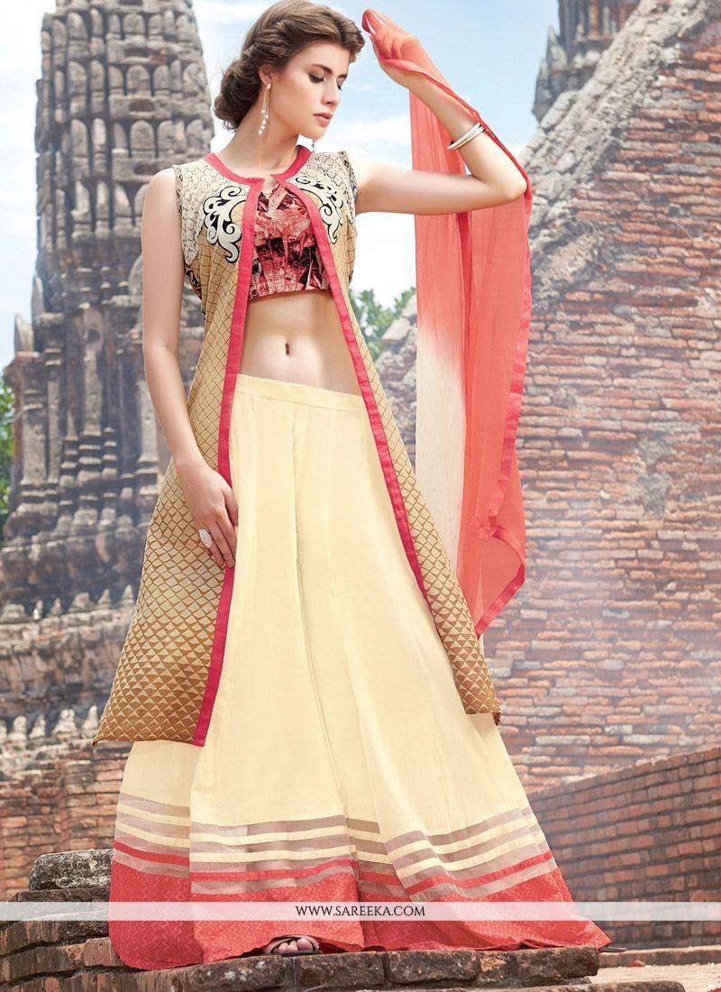 Cotton Satin Resham Work Designer Palazzo Salwar Suit