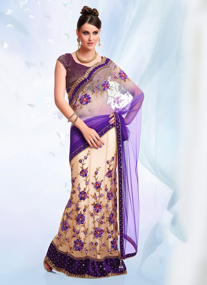 Cream And Deep Purple Lehenga Saree