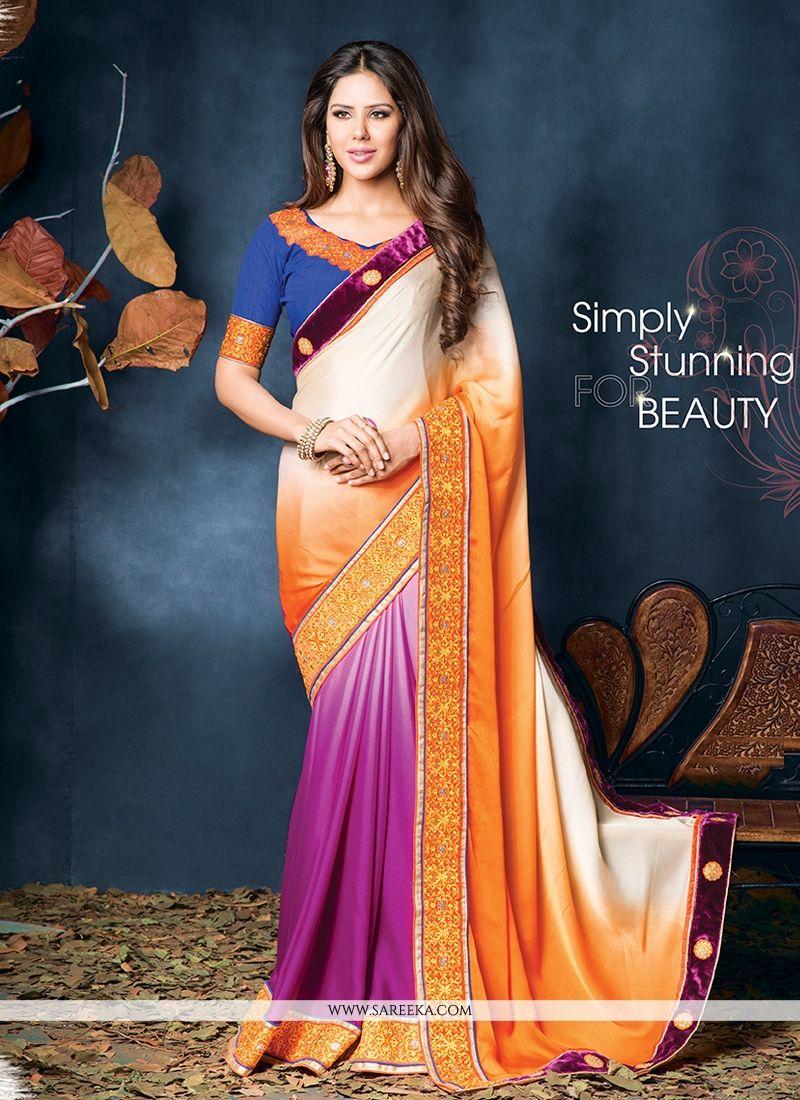 Cream And Orange Shaded Designer Saree
