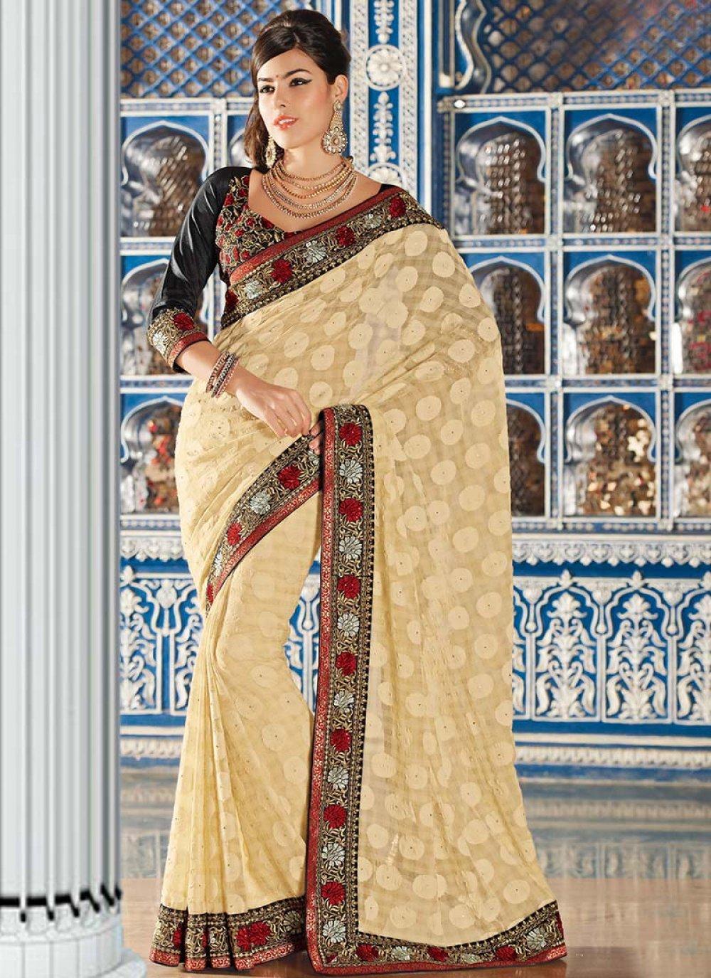 Cream Art Silk Party Wear Saree
