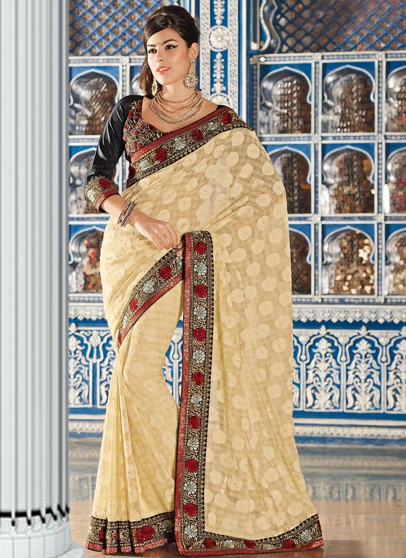 Cream Art Silk Party Wear Saree