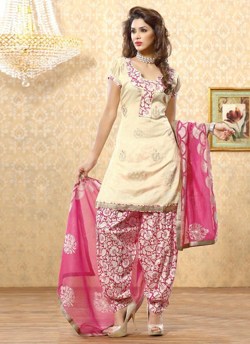 Cream Chanderi Punjabi Suit -