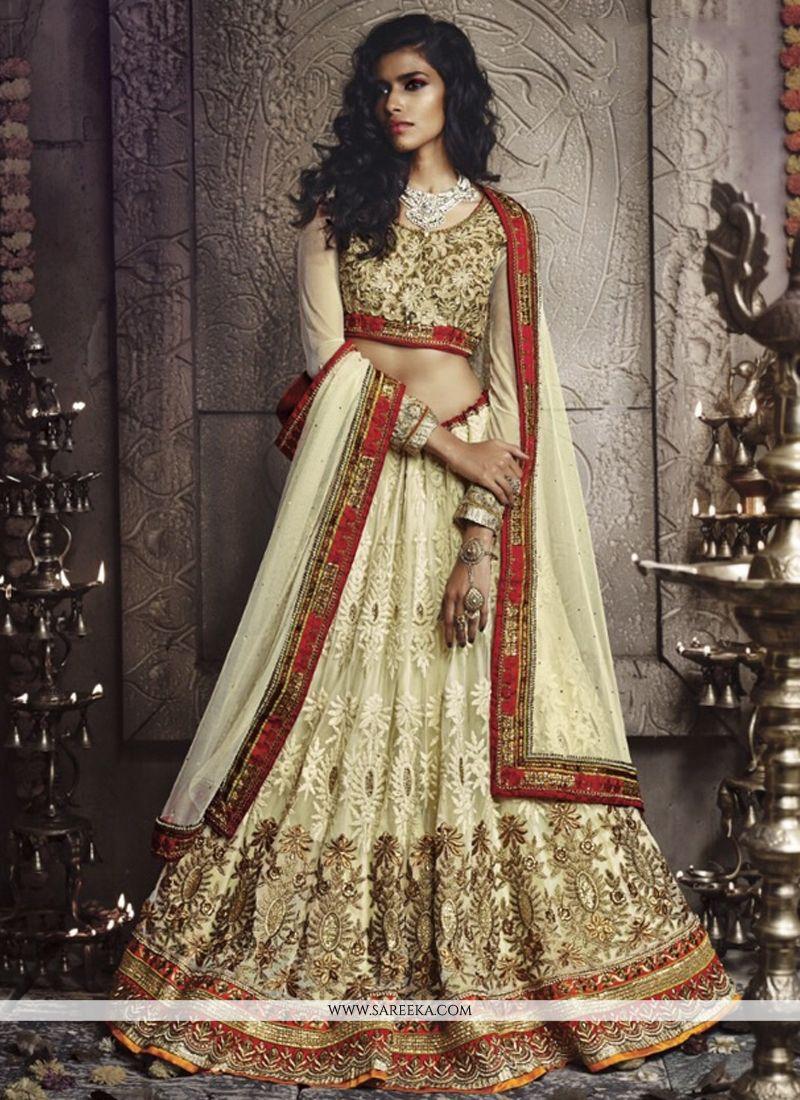 Cream Pure Georgette Wedding Lehenga Choli