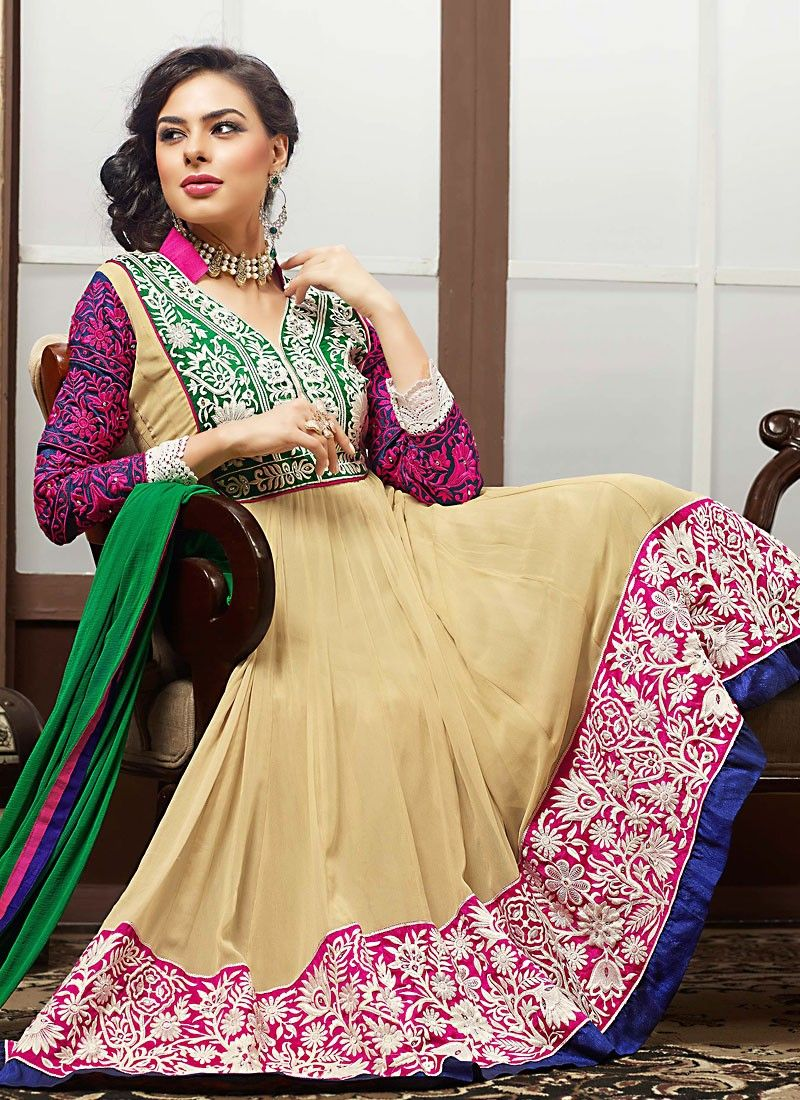 Diva Bige Brown & Deep Pink Anarkali Suit