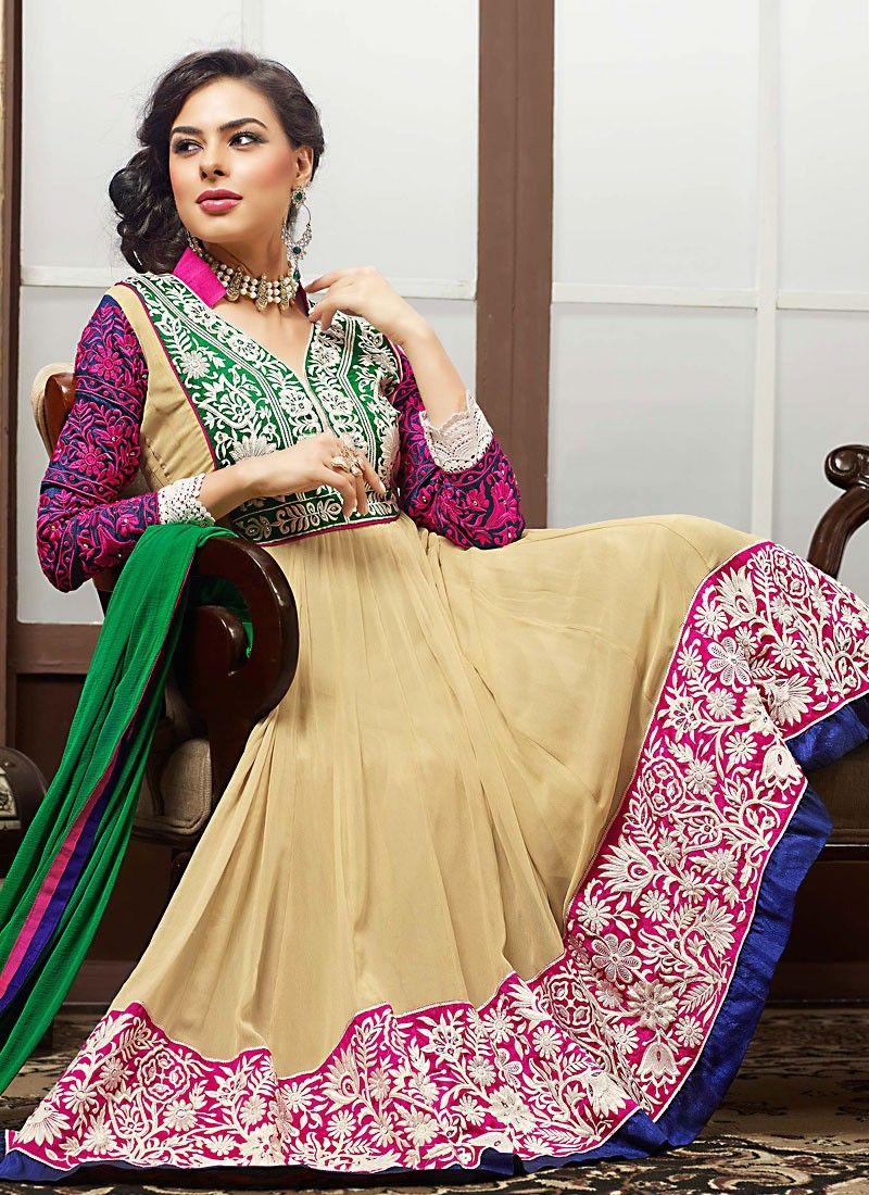 Diva Bige Brown & Deep Pink Anarkali Suit