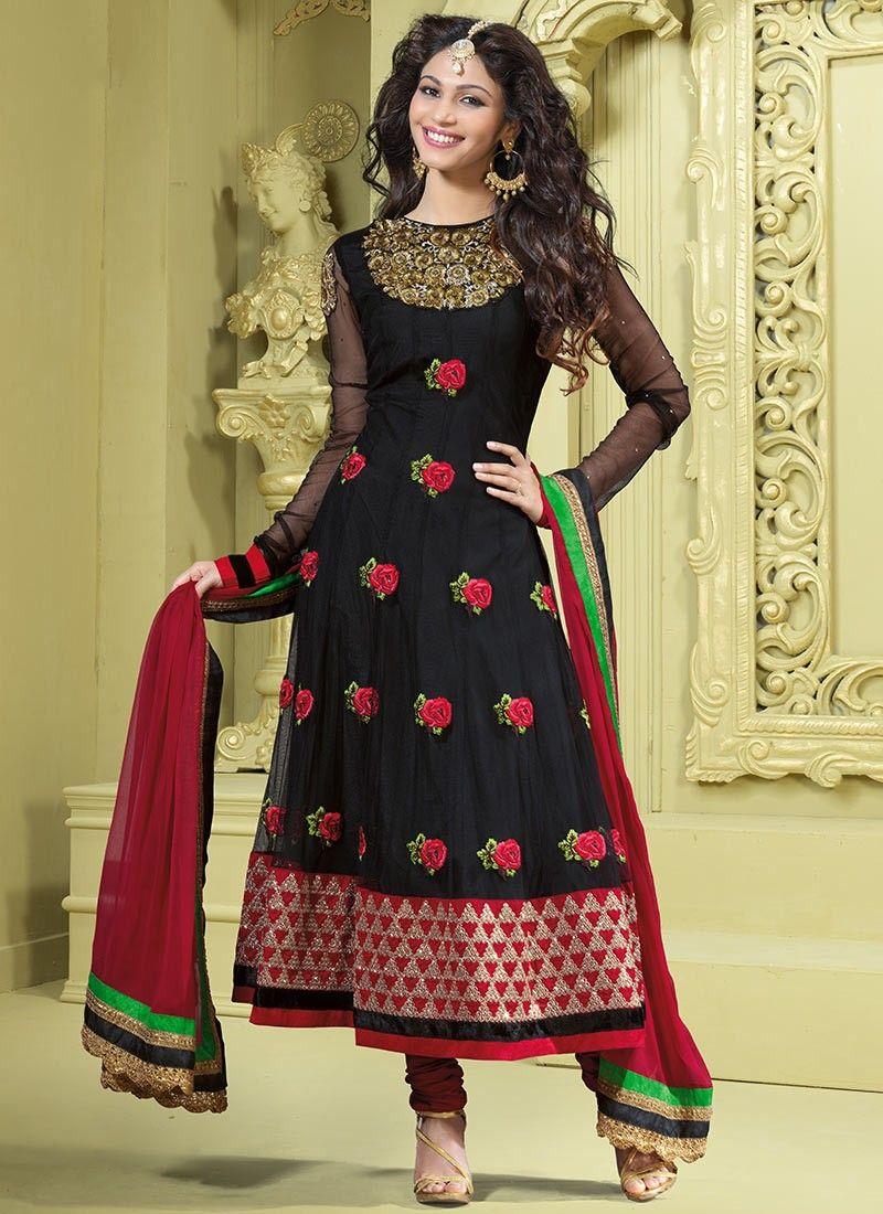 Diva Black & Crimson Salwar Kameez