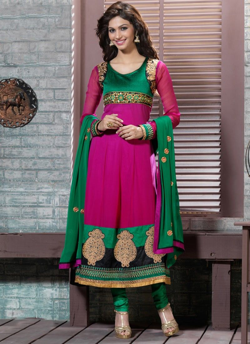Diva Bottle Green & Fuchsia Salwar Kameez