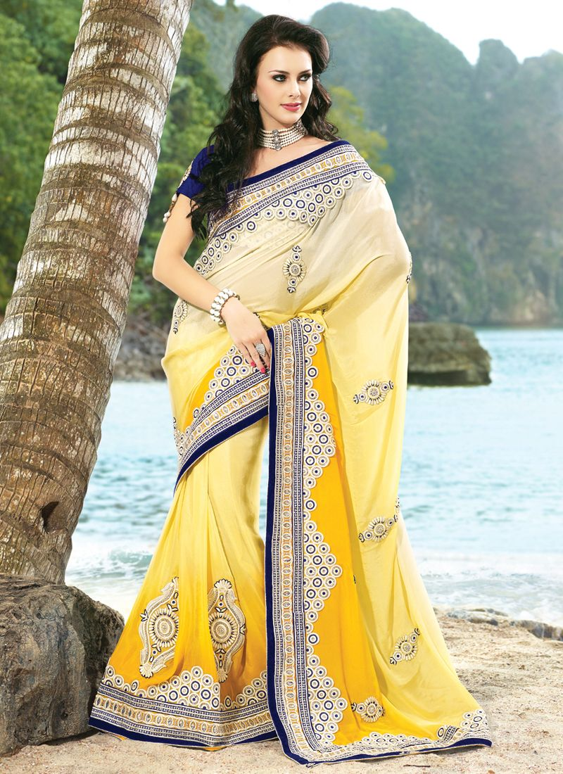 Diva Bttercream & Gold Color Embroidered Saree