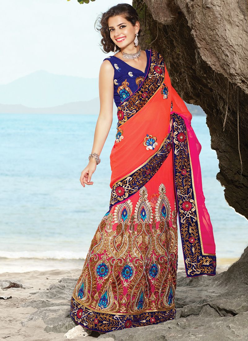 Diva Coral & Deep Pink Embroidered Saree