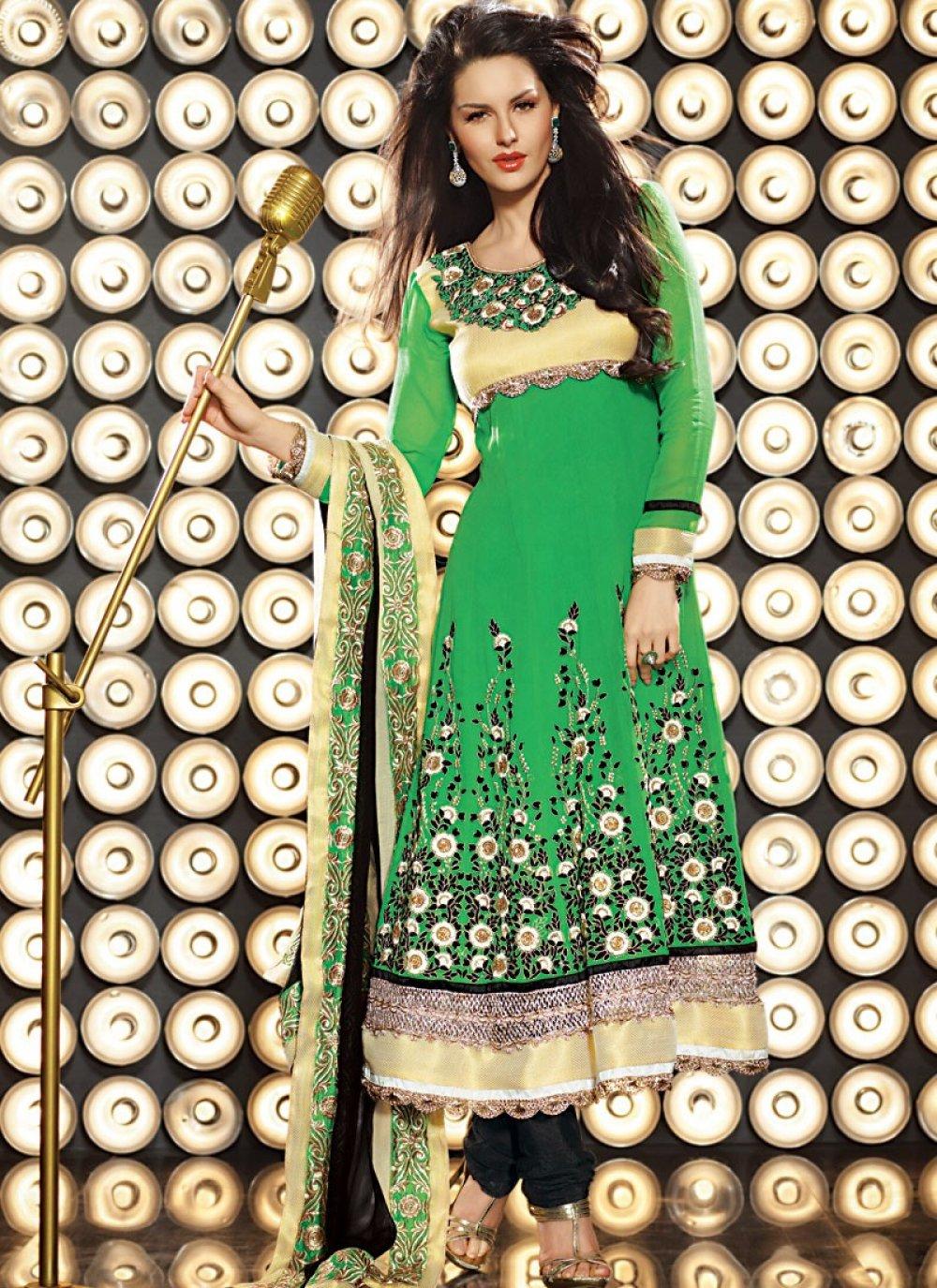Diva Jade Green & Yellow Anarkali