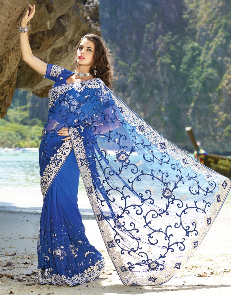 Diva Nvy Blue Embroidered Saree
