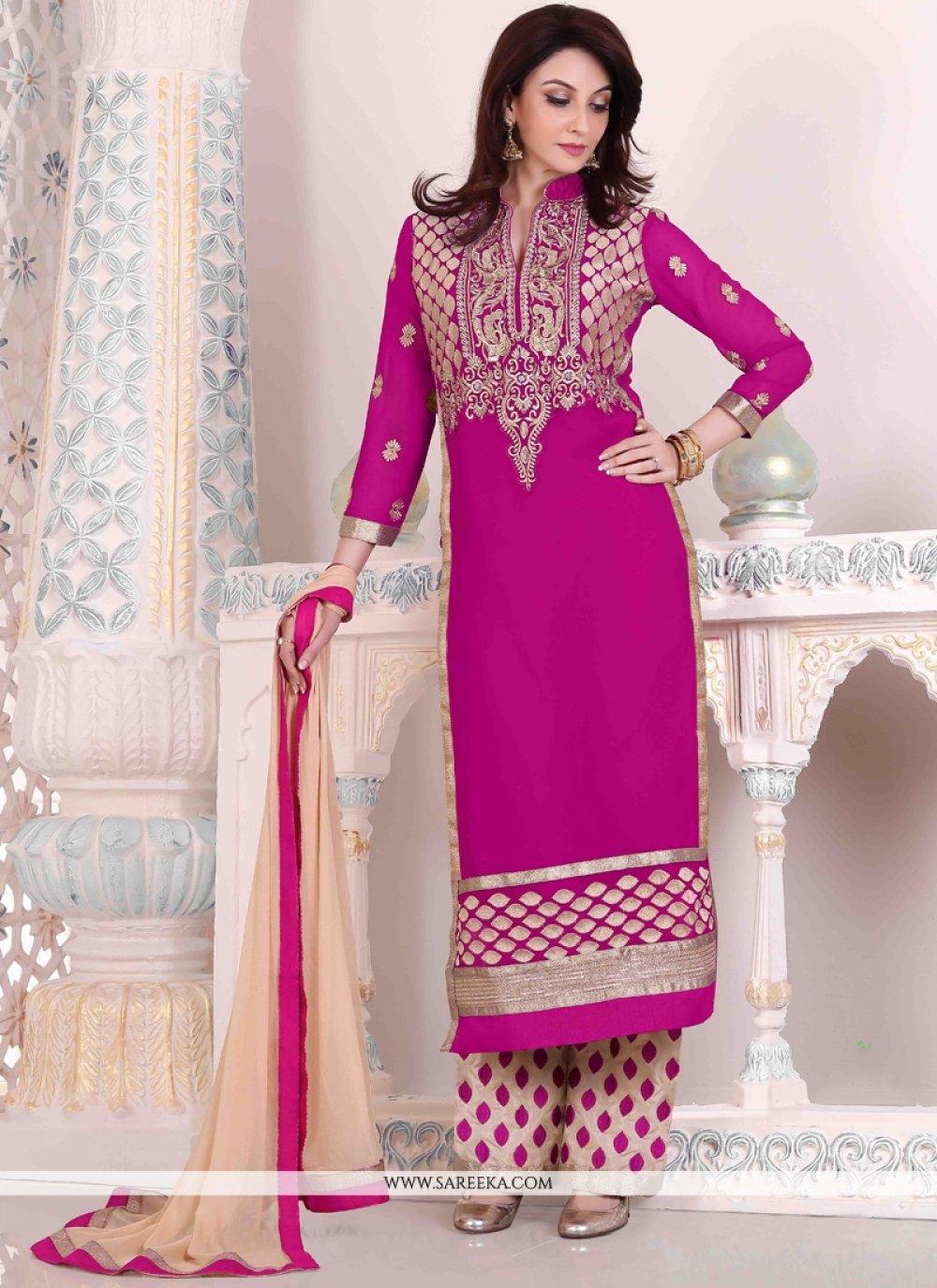 Georgette Embroidered Work Designer Palazzo Salwar Suit
