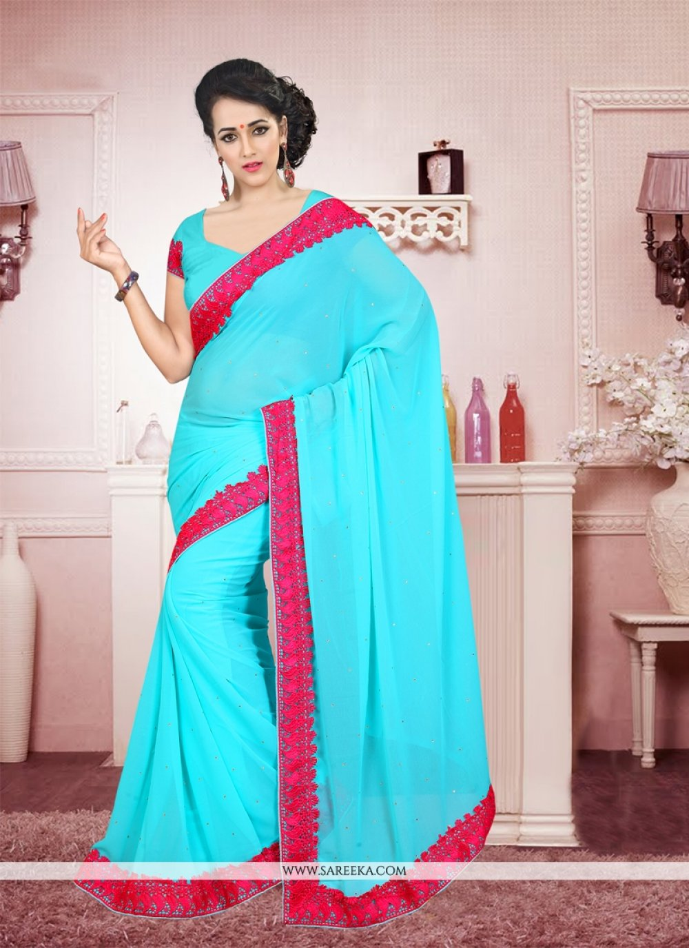 Georgette Patch Border Work Casual Saree