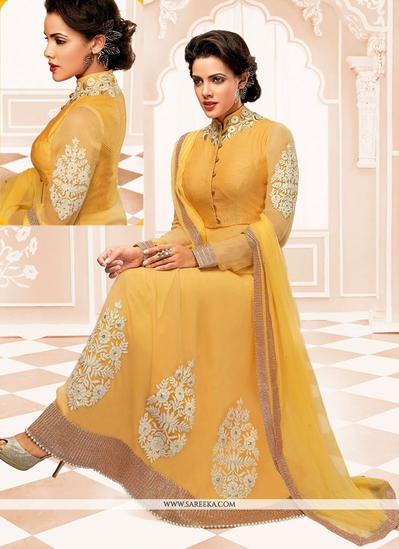 Gold Georgette Anarkali Salwar Suit