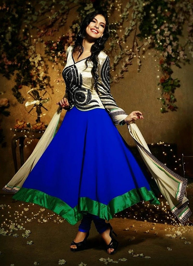Green And Blue Border Work Anarkali Suit