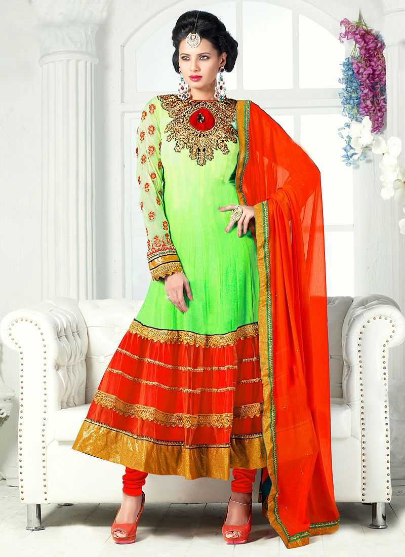 Green And Red Zari Work Net Anarkali Suit