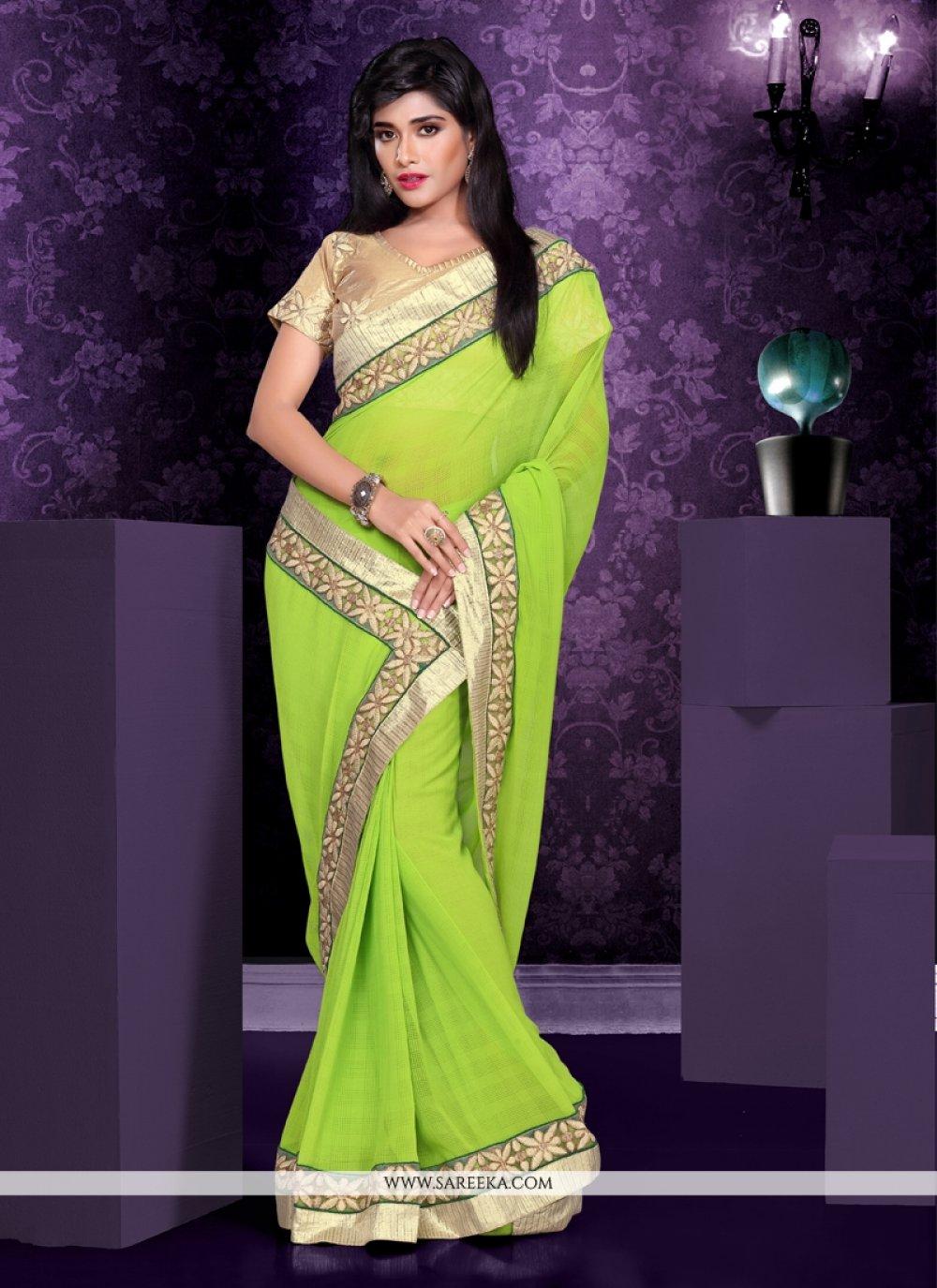 Green Georgette Party Wear Saree