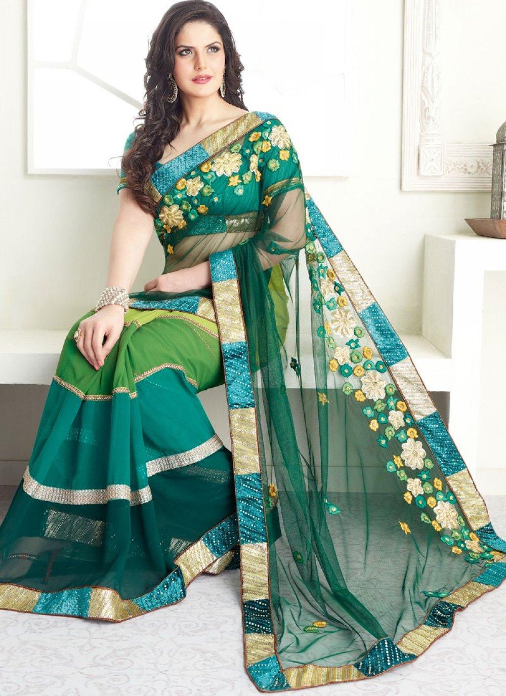 Green Half And Half Saree