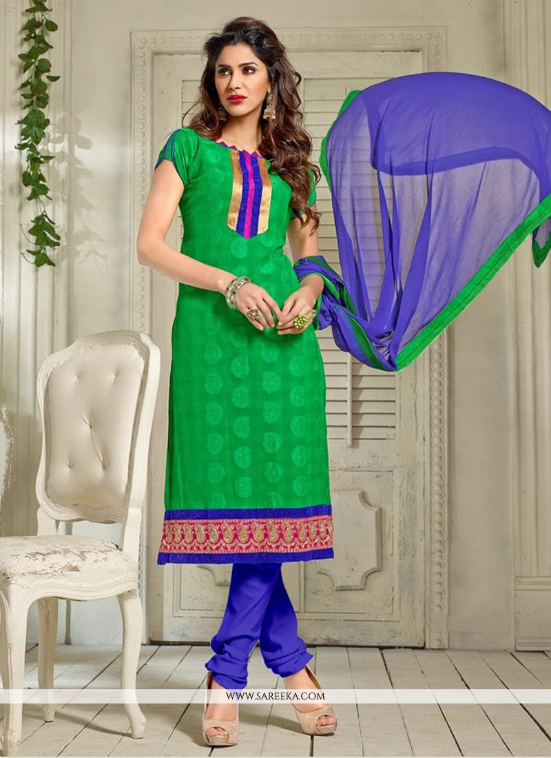 Green Lace Work Churidar Suit