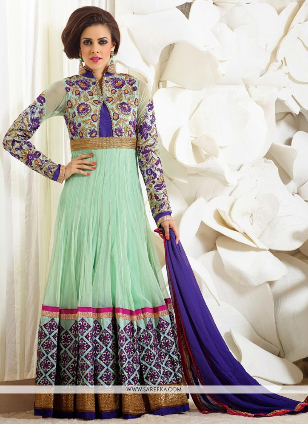 Green Net And Georgette Anarkali Suit