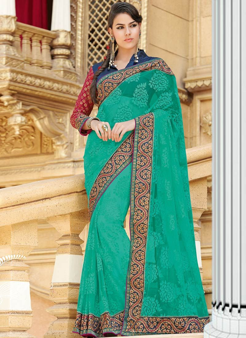 Green Net Brasso Saree